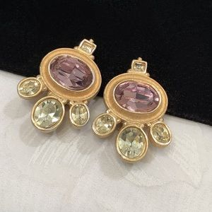 Vintage Maresca Gold Earrings With Glass Cabochons